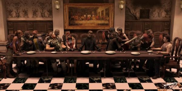 La Cène revisitée par les personnages du jeu Resident Evil