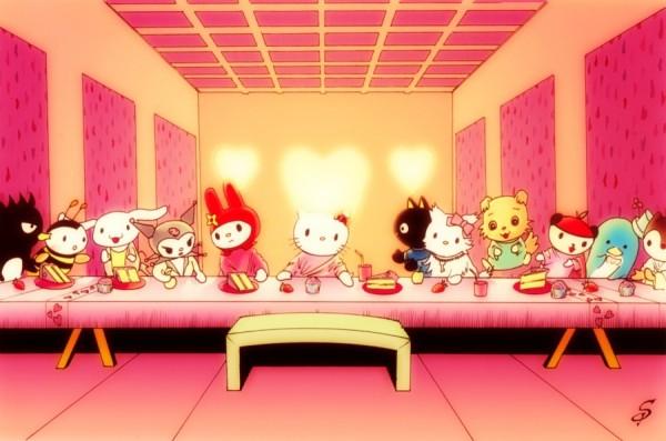 Une version Hello Kitty de La Cène