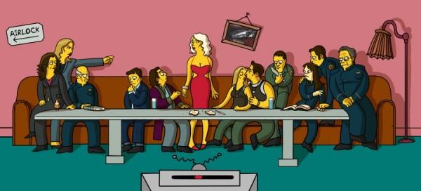 La Cène Battlestar Galactica en mode Simpsons
