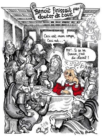 Plantu revisite La Cène suite au scandale des lasagnes au cheval et à la démission du Pape