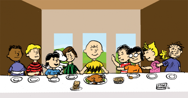 Snoopy et les Peanuts parodient La Cène