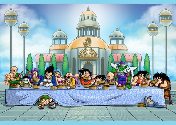 Le tableau de La Cène, revisité avec les personnages de Dragon Ball